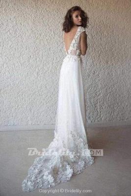 Chicloth Ivory Cap Sleeve V Neck Beach Boho Appliques Wedding Dress_2