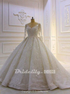 Chicloth Luxury Shinny Three Quarter Sleeve Lace Beading Ball Gown Wedding Dresses_2