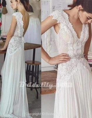 Chicloth Unique V Neck Cap Sleeves Chiffon Beach Wedding Dress_2