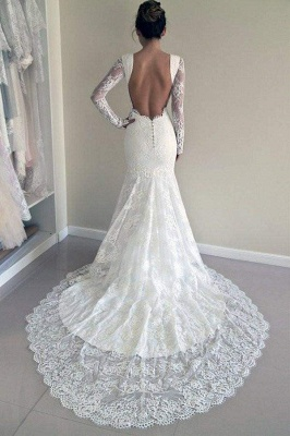 Chicloth Long Sleeves Open Back Lace with Train Mermaid Beach Wedding Dress_1