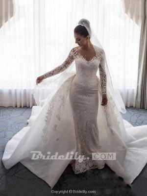 Chicloth Long Sleeves Lace Mermaid Wedding Dresses_3
