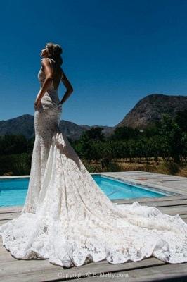 Chicloth Deep V-Neck Beach Sleeveless Lace Mermaid Wedding Dress_2