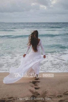 Chicloth Ivory Long Sleeve Rustic Backless Sheath Beach Wedding Dress_3