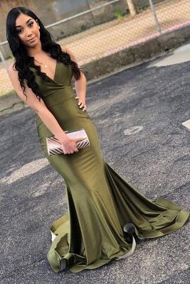 Chicloth Attractive Green V Neck Floor Length Mermaid Prom Dresses_1