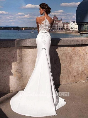 Chicloth Popular Appliques Sweep Train Mermaid Wedding Dresses_3