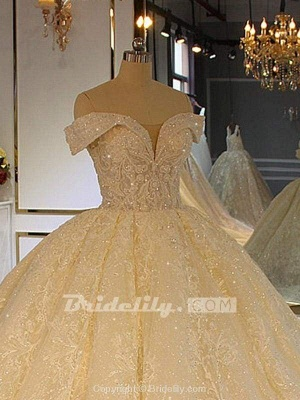 Chicloth Luxury Off-the-Shoulder Lace-Up Ball Gown Wedding Dresses with Beading_3