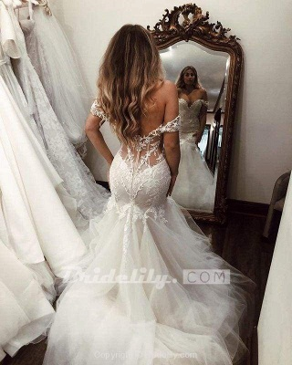 Chicloth Off the Shoulder Mermaid Lace Long Tulle Wedding Dress_5