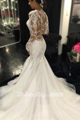 Chicloth Gorgeous Long Sleeves Mermaid V-neck Gown Ivory Wedding Dress_4