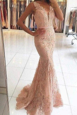 Chicloth Pink Sleeveless Formal Dresses Mermaid Sheer Back Lace Prom Gown_1