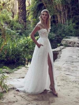 Chicloth Split Lace Applique Sweep Train A Line Wedding Dresses_1