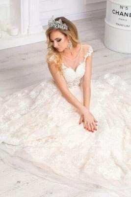 Chicloth Gorgeous Sheer Neck Cap Sleeves Lace Appliques A Line Wedding Dress_3
