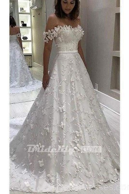 Chicloth Gorgeous Off the Shoulder Lace White Long Wedding Dress_2