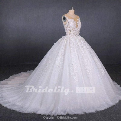 Chicloth Ball Gown Sheer Neck Sleeveless White Lace Appliqued Wedding Dress_6