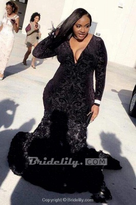 Chicloth Plus Size Prom Dresses Mermaid Black Lace Plunging V Neck Long Sleeve Evening Gowns With 3D Flowers_2