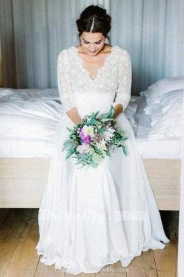 Chicloth Floor Length Chiffon Beach Lace Backless Wedding Dress_2
