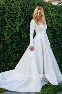 Chicloth New Elegant Satin V Neck Long Sleeve Wedding Dress_2