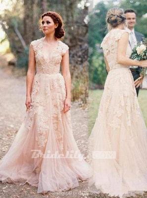 Chicloth Elegant V-neck Sleeveless Cap Sleeves Floor-Length Wedding Dress_4
