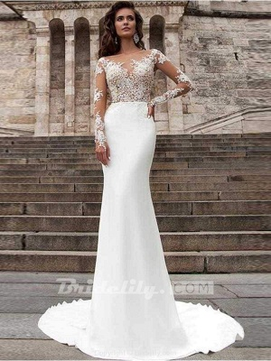 Chicloth Glamorous Long Sleeves Appliques Mermaid Wedding Dresses_3