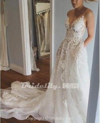 Chicloth Stunning Appliques Lace Spaghetti Straps Wedding Dress_5