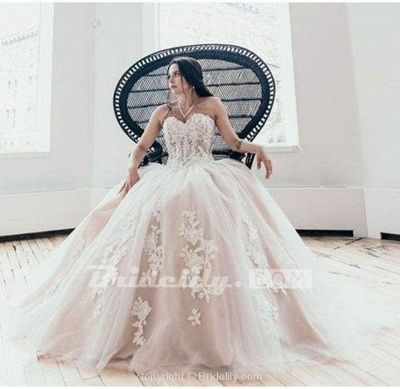 Chicloth Floor Length Sweetheart Tulle Wedding with Lace Appliques Long Dress_3