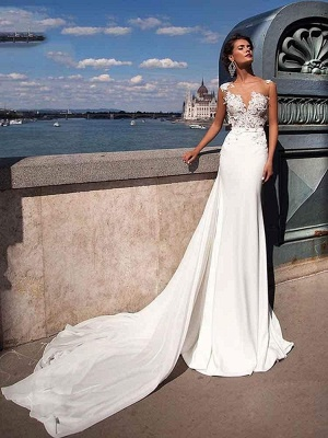 Chicloth Popular Appliques Sweep Train Mermaid Wedding Dresses_1