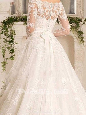 Chicloth Off-the-Shoulder Tulle Ruffles Wedding Dresses_4