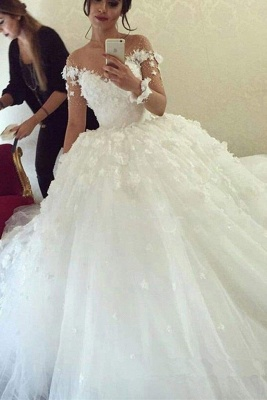 Chicloth Ball Gown Sheer Neck with Flowers Long Sleeves Puffy Wedding Dress_1