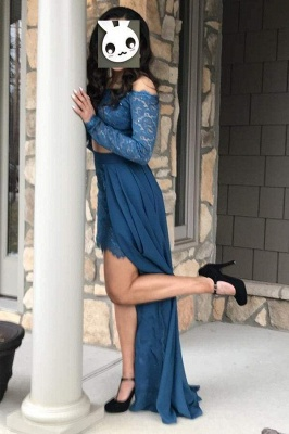 Chicloth Beautiful Affordable Dark Teal Two Piece Long Sleeves Lace Chiffon Dress with Slit Off Shoulder Prom Dresses_1