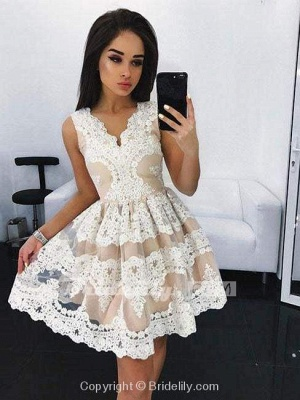Chicloth Cute Mini V-Neck Blue Homecoming Lace Appliqued Short Prom Sweet 16 Dress_3