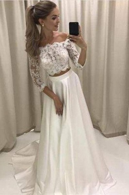 Chicloth Two Piece 3\/4 Sleeve Off the Shoulder Lace Satin Beach Wedding Dress_1