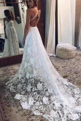 Chicloth A Line Floor Length Split Beach Lace Wedding Dress_2