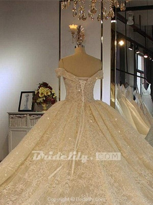 Chicloth Luxury Off-the-Shoulder Lace-Up Ball Gown Wedding Dresses with Beading_2