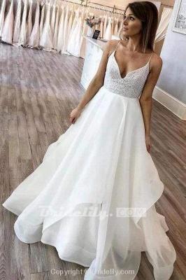 Chicloth Floor Length Spaghetti Straps Beach Simple Wedding Dress_2