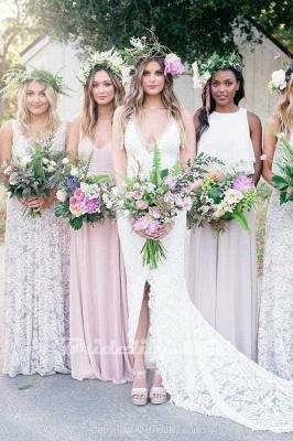 Chicloth V-Neck Court Train Split Backless Lace Mermaid Wedding Dress_2