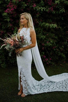 Chicloth Sheath Boho Lace Gown Slit Mermaid Long Train Wedding Dress_1