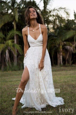 Chicloth A Line Floor Length Split Beach Lace Wedding Dress_3