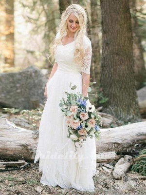 Chicloth Elegant Half Sleeves V-neck Lace Boho Wedding Dress_2