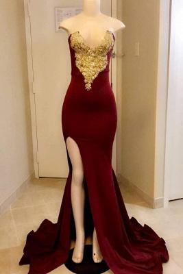 Chicloth Gorgeous Burgandy Side Slit Floor Length Prom Dresses_1