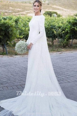 Chicloth Modest Long Sleeve Sheath Country Wedding Dress_2