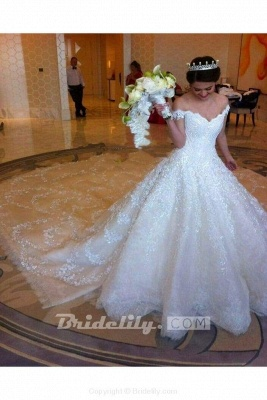 Chicloth Gorgeous Off the Shoulder Puffy Princess Lace Wedding Dress_4