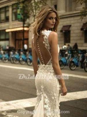 Chicloth Spaghetti Strap Floral Applique Covered Button Mermaid Wedding Dresses_2