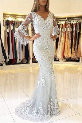 Chicloth White V Neck Long Prom Mermaid Lace Appliqued Evening Dress_1