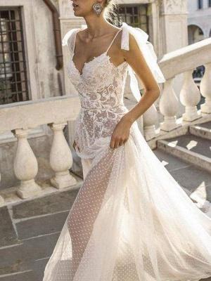 Chicloth Spaghetti Straps Illusion Lace Backless Boho Wedding Dresses_1