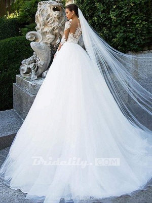 Chicloth Long Sleeves Lace Ball Gown Tulle Wedding Dresses_2