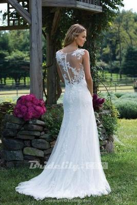 Chicloth Vintage V Neck Sleeveless Tulle Appliqued Wedding Dress_2