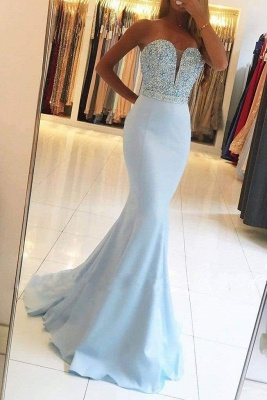 Chicloth Sexy Light Blue Beading Strapless Long Prom Dresses Sparkle Mermaid Party Gown_1