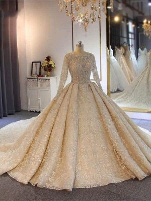 Chicloth luxury Full Lace Beading Long Sleeves Ball Gown Wedding Dresses_1
