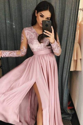 Chicloth Simple V Neck Prom Long Sleeves Pink Split Evening Dress with Lace_1