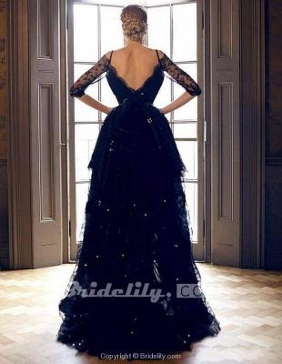 Chicloth Elegant Black Lace High-low Half Sleeves Prom Evening Dress_3