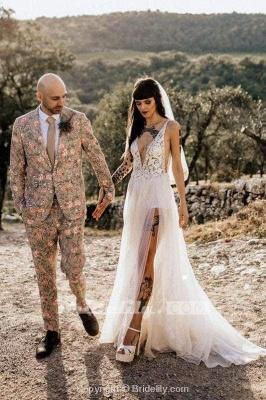 Chicloth Deep V Neck Thigh Split Beach Vintage Wedding Dress_2